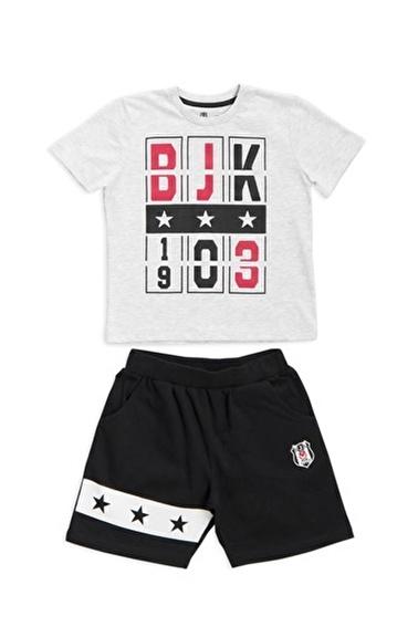 Beşiktaş Beşiktaş Lisanslı Çocuk T-Shirt Şort 2'Li Takım Karmelanj Gri